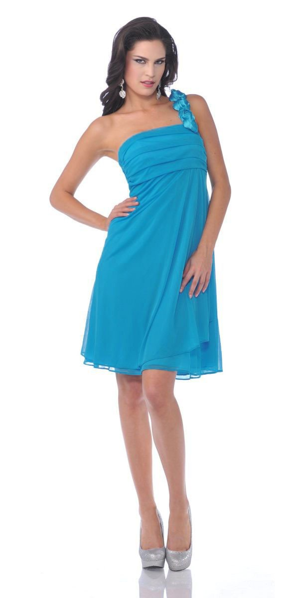CLEARANCE - One Shoulder Flower Turquoise Dress Chiffon Knee Length