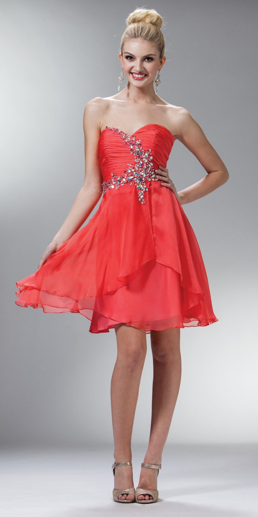 CLEARANCE - Coral Flared Strapless Embellished Short Dress