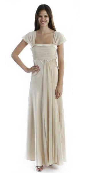 CLEARANCE - Gold Dress Cap Sleeve Pleated Bodice Side Sash