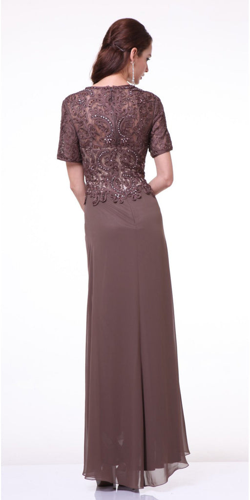 Elegant Formal Gown Brown Long Short Sleeve Lace Appliques