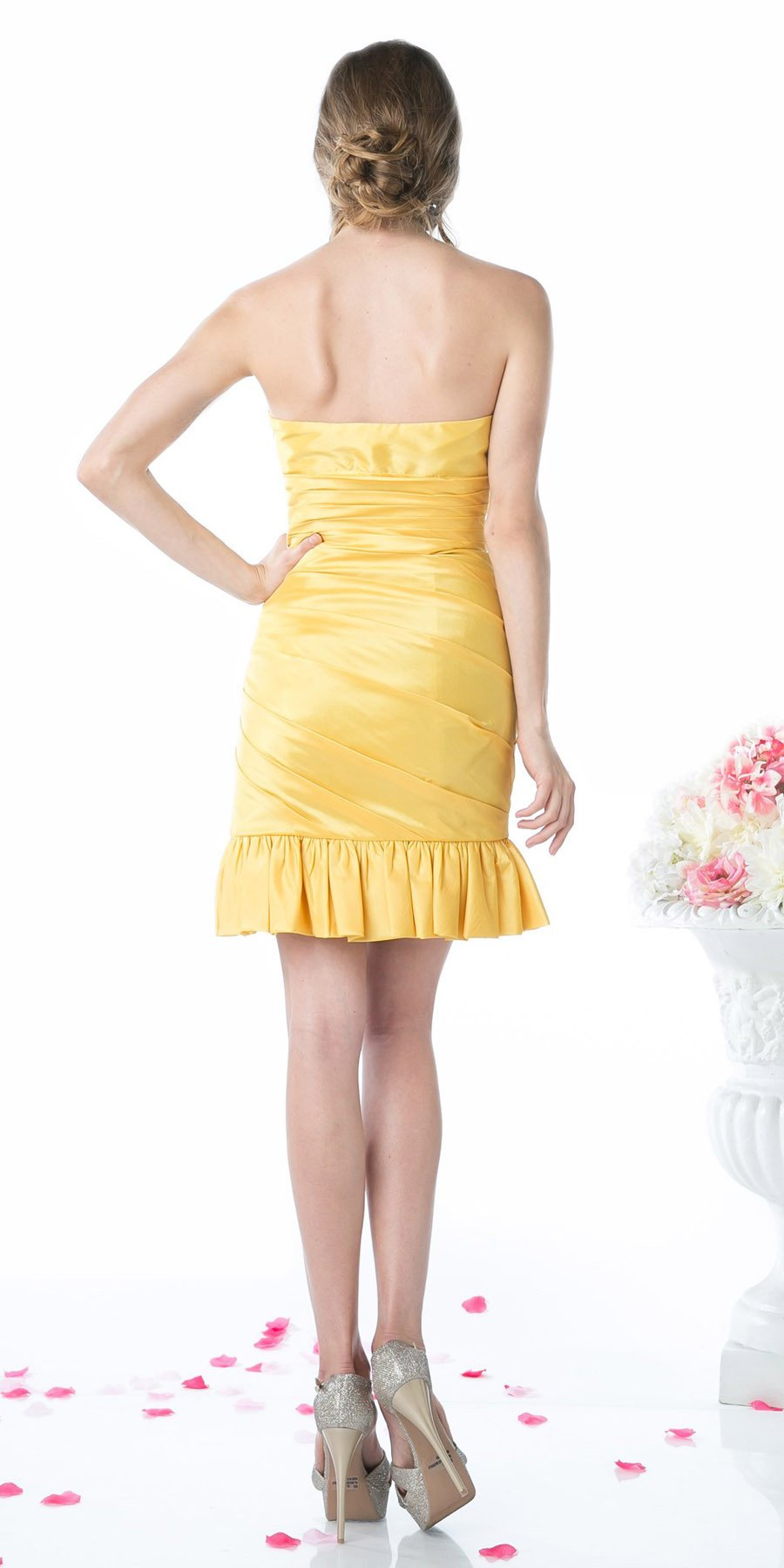 CLEARANCE - Form Fitting Strapless Jade Short Dress Ruffled Skirt