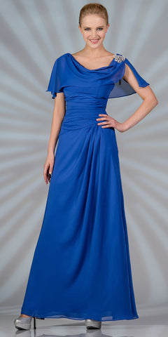 CLEARANCE - A Line Royal Blue Dress Long With Chiffon Short Sleeves