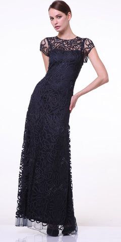 CLEARANCE - Semi Formal Long Lace Black Dress Tea Length Short Sleeve