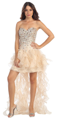Beaded Corset Bodice Short Ruffled Skirt Nude Prom Dress