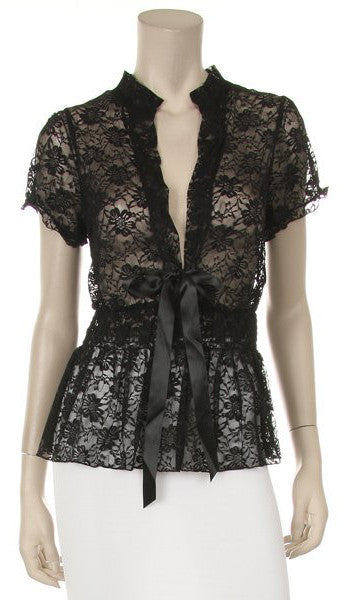 35303fd749f3 Black Short Sleeve Lace Top V Neck With Bow – DiscountDressShop