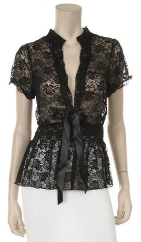 Black Short Sleeve Lace Top V Neck With Bow