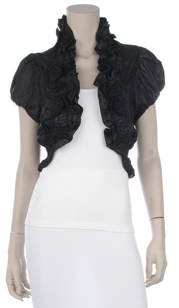 Black Ruffled Bolero Jacket Short Sleeve Ruffled Black Bolero Jacket