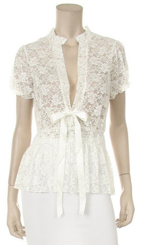 White Short Sleeve Lace Top V Neck With Bow