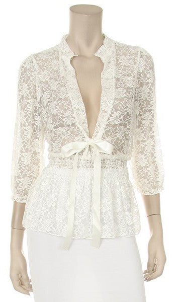 White Lace Top 3/4 Length Sleeve V Neck With Bow