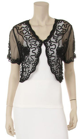 Short Sleeve Black Bolero Top