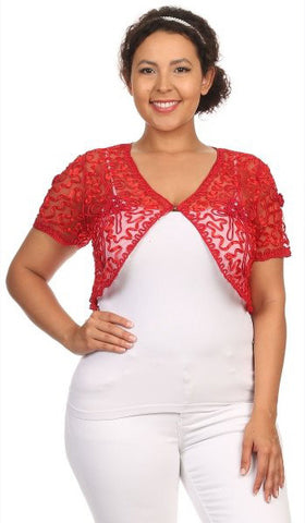 Red Lace Bolero Jacket Short Sleeve Wedding Bolero Red Bridal