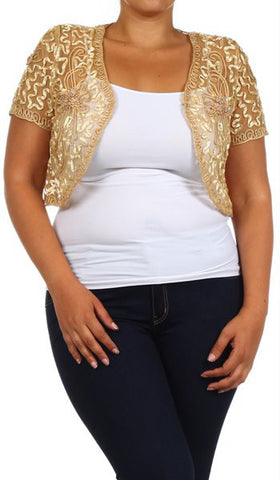 Gold Lace Bolero Jacket Short Sleeve Wedding Bolero Gold Bridal