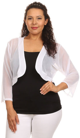 White Sheer Bolero Jacket Chiffon 3/4 Length Sleeve Bolero