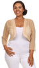 Gold Sheer Bolero Jacket Chiffon 3/4 Length Sleeve Bolero