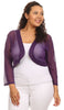 Purple Sheer Bolero Jacket Chiffon 3/4 Length Sleeve Bolero