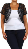 Brown Lace Bolero Jacket Short Sleeve
