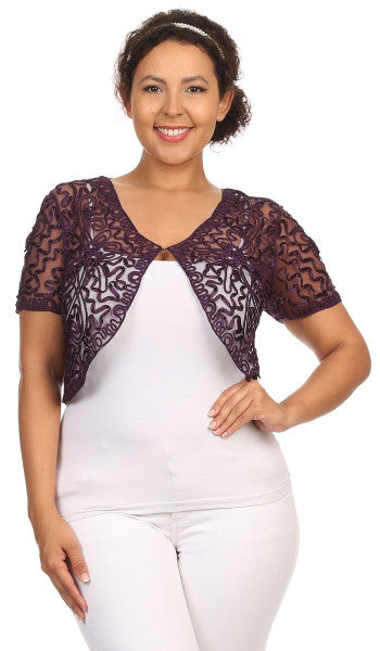 Purple Lace Bolero Jacket Short Sleeve Wedding Bolero Purple Bridal