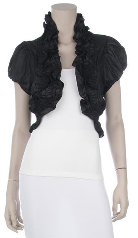 White Ruffled Bolero Jacket Short Sleeve Ruffled White Bolero Jacket