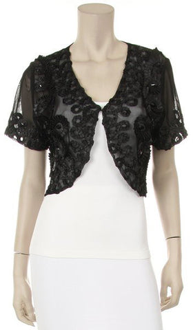 Short Sleeve Black Shrug Bolero