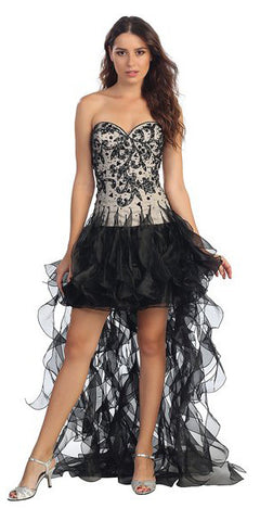 High Low Ruffled Skirt Strapless Black Short Prom Dress