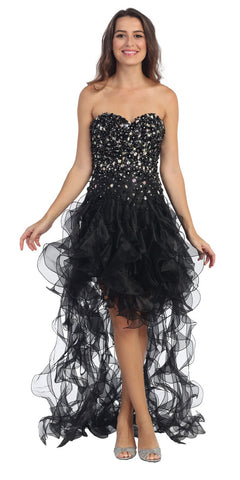 Beaded Corset Bodice Short Ruffled Skirt Black Prom Dress
