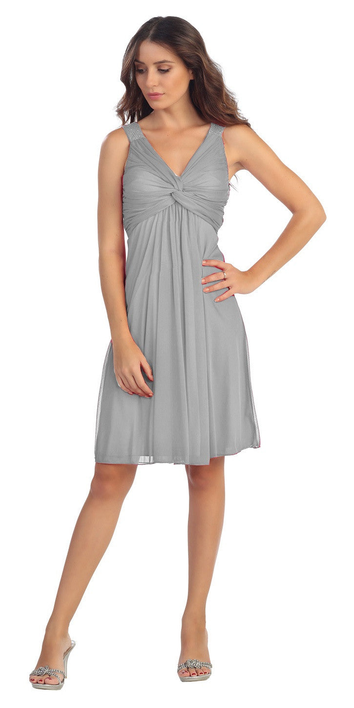 Knee Length Chiffon Bridesmaid Dress Silver Empire Thick Strap