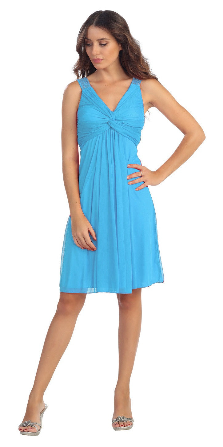 Knee Length Chiffon Bridesmaid Dress Turquoise Empire Thick Strap
