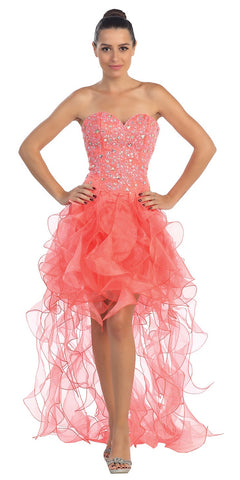 High Low Ruffled Skirt Strapless Coral Short Prom Dress