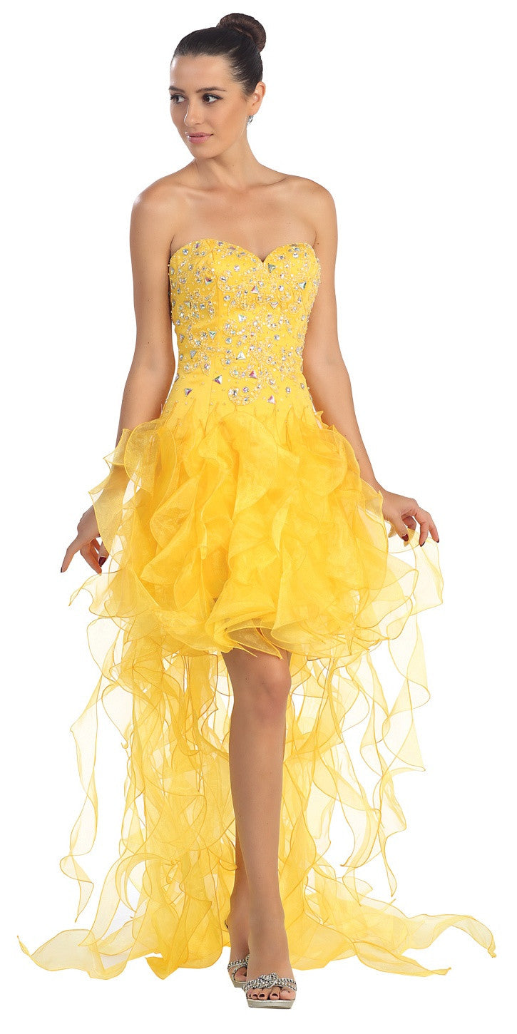 High Low Ruffled Skirt Strapless Yellow Short Prom Dress