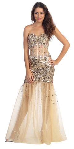Long Sheer Skirt Studded Strapless Champagne Trumpet Prom Gown