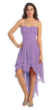 Multi Layer Chiffon Bridesmaid Dress Lilac High Low Strapless