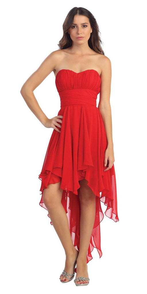 Multi Layer Chiffon Bridesmaid Dress Red High Low Strapless