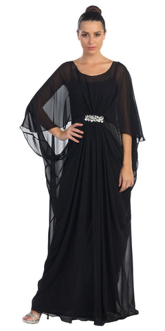 Scoop Neck Long Batwing Sleeved Black Column Gown