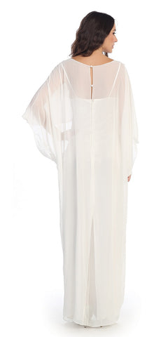 Scoop Neck Long Batwing Sleeved Ivory Column Gown