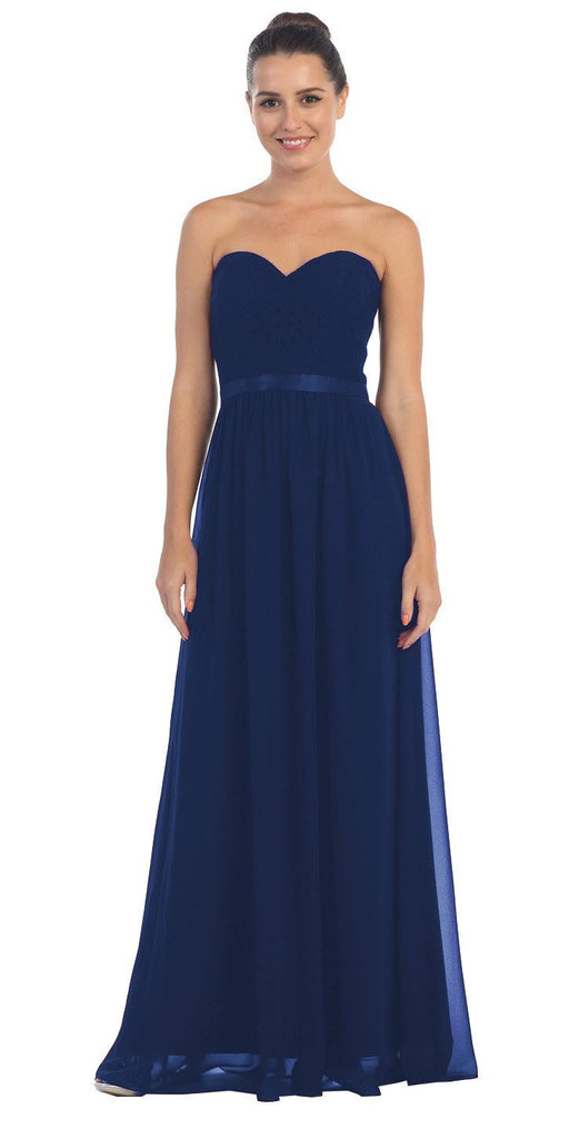 Starbox USA L6145 Lace Sweetheart Neckline Navy Blue Chiffon A-Line Bridesmaids Gown Strapless