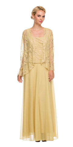 Chiffon Plus Size Mother of Bride Dress Gold Includes Jacket