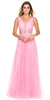 Floor Length A Line Baby Pink Formal Gown V Neck Tulle Skirt