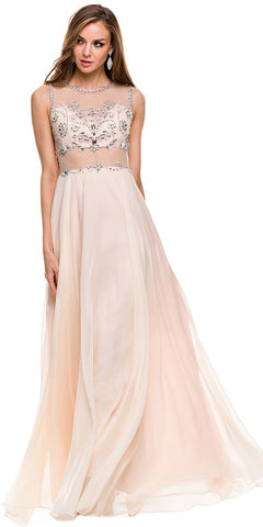 Sheer Waist Prom Gown Nude Chiffon Long Sleeveless Beads