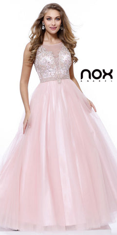 Long Sweet 16 Tulle Dress A Line Blush/Pink Sleeveless Ball Gown