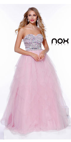 Strapless Bling Top Prom Gown Baby Pink Tulle Skirt Sweetheart