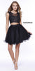 Short Sleeveless Two Piece Dress Black Lace Bodice
