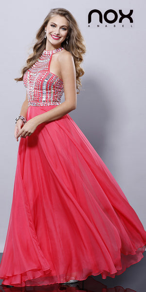 Long Pageant Gown Watermelon High Neckline Chiffon Jewel Bodice