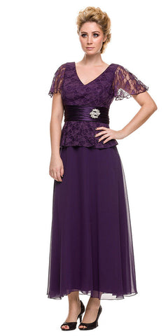 Plus Size Peplum Mother of Groom Dress Plum V Neck Ankle Length