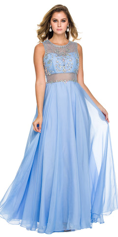 Sheer Waist Prom Gown Periwinkle Chiffon Long Sleeveless Beads