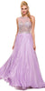 Sleeveless Long Prom Gown Lilac Chiffon A Line Beaded Bodice