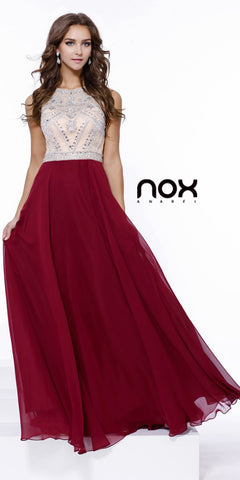 Sleeveless Floor Length Prom Gown Burgundy Chiffon Jewel Top