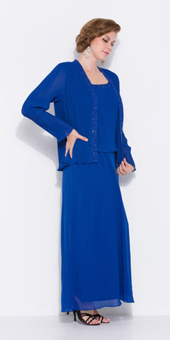 Plus Size Royal Blue Mother of Bride Gown Includes Chiffon Jacket
