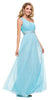 One Strap Aqua Prom Gown Chiffon Ruched Top Beaded Waist