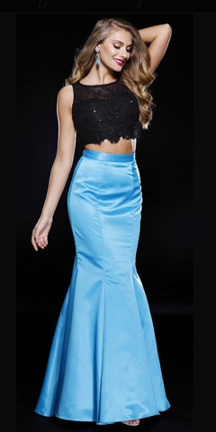 Turquoise Black Two Piece Mermaid Prom Gown Lace Top Satin Skirt