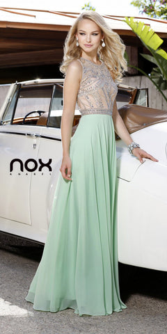Sleeveless Floor Length Prom Gown Light Green Chiffon Jewel Top